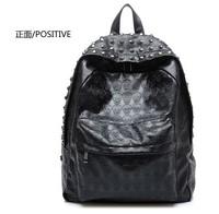 Free shipping 2012 double-shoulder rivet skull female bags general paragraph unisex backpack travel bag