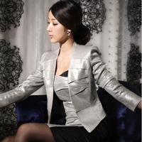 2013 spring coat blazer short design thin suit slim women's coatsoutwear shinny silver ladies coat free shipping wholesale