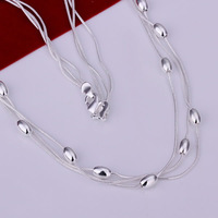 J N214 Promotion! wholesale 925 sterling silver necklace, 925 sterling silver fashion jewelry Chain Three Line Of Beans Necklace