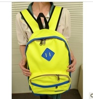 free shipping. 2013 preppy style neon color backpack general color block backpack bag