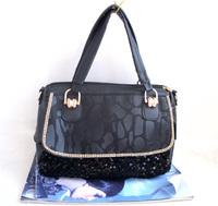 free shipping, 2013 flip stone pattern rhinestones serpentine pattern handbag one shoulder cross-body paillette female bags