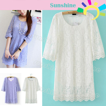 New Fashion Women's 3/4 Sleeve Lace Dress Round Neck 2 Colors Free Shipping 13318
