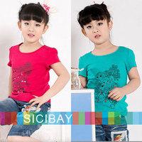 6pcs/lot Girls Tops Wholesale Kids Summer T shirts Children Fashion Cartoon Doodle Clothes Cheap,Free Shipping K0435