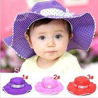 5pcs/Lot Baby Sun Hat Princess Caps Kids Girls Summer  Small Dots Bow knots Floral Caps Big Brim Sunbonnet 1-3 Year Children