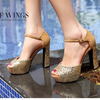 2013 spring open toe exquisite glossy the trend of the beautiful high-heeled thick heel platform women's shoes