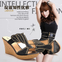 2013 crystal rhinestones rhinestone sandals all-match wedges platform slippers platform sandals