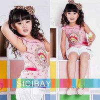 Free Shipping Kids Summer Clothing Girls Summer  Tops Cute Flower Tshirts Children Tops,5pcs/lot  K0450