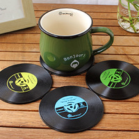 Novelty Hot Vinyl Silicone Record Drink Coasters Cup Mats disc Heat pad heat-proof mat Pads 10PCS/LOT Free Shipping