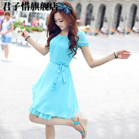 15 10 sweet slim waist short-sleeve chiffon one-piece dress