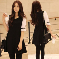 Spring 2013 spring and summer one-piece dress chiffon women's basic skirt fifth sleeve princess one-piece dress