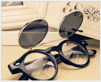 Steampunk Double Flip Retro Round Fashion Women Sunglasses Vintage Metal Sunglasses Free Shipping 074