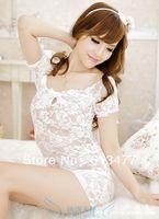 Babydoll Sexy Lingerie strip dress+g string set Sleepwear,Underwear ,Uniform ,Kimono Costume-white  1048-2pcs