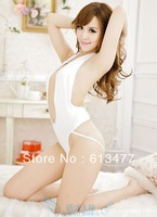 Babydoll Sexy Lingerie strip dress+g string set Sleepwear,Underwear ,Uniform ,Kimono Costume-white 1124-2pcs