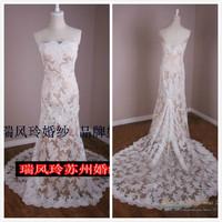 Fashion 2014 New Arrival Vintage Elegant Slim Lace Backless Real Shot Train Mermaid Wedding Dress Bridal Gowns CH2185