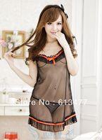 Babydoll Sexy Lingerie strip dress+g string set Sleepwear,Underwear ,Uniform ,Kimono Costume-black 1119-1pcs