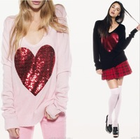 Free shipping 2013 Spring WILDFOX pullover women heart sequins v neck pullover white sweater women knitted sweater