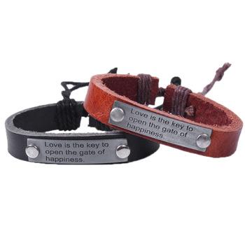 2013 New Hot Sales Punk Vintage Leather Bracelet For Men,English Punk Style Bracelet,One Direction Brand Bracelet Wholesale