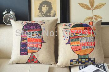 "Popper Style Fashion Creative Desgin 100% Natural Vintage Stlye Linen Pillow Case Cushion Cover  Home Decor 18"" x18"" 45CM"