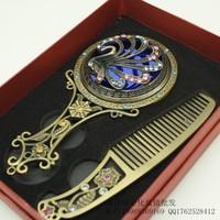 Vintage bronze mirror handle mirror princess mirror comb set gift fashion vintage portable makeup mirror