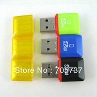 Free shipping 100pcs wholesale high speed USB 2.0 T-flash card reader,mini style diamond shape, diamond card reader