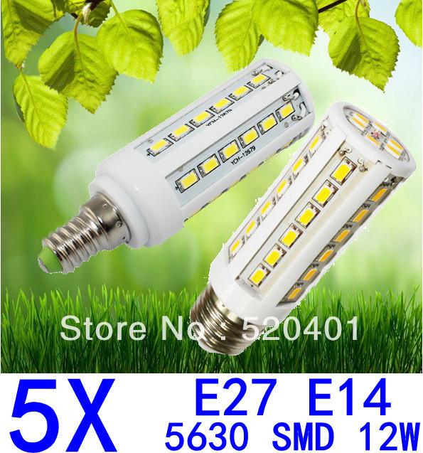 Free shipping 5pcs/lot E27 E14 110/220V 5630 SMD 42led 12W white/warm white Led corn light bulb lamp 360 degree