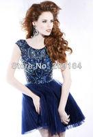 Custom Sexy Cystal Shiny Organza Cap Sleeve Royal Blue Short Prom Dresses 2013 Free Shipping