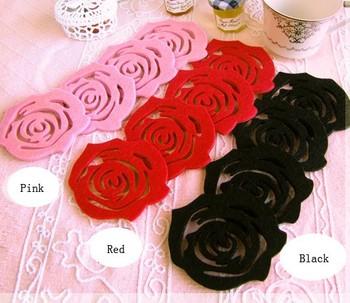2pcs Various Colors Rose Felt Coaster Cup Mat Pad for Mug Glass Plate S069