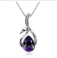 K285  jewelry wholesale beautiful swan of Austrian crystal necklace  free shipping