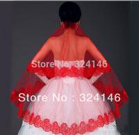 T06-1.5m single-deck beautiful lace flower bridal red veils  wedding head veil hair accessories