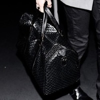 2013 knitted casual bag messenger bag big bags women's handbag black travel bag