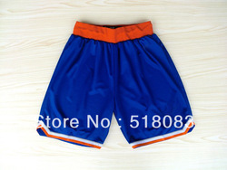 Cheap Basketball Shorts New York Blue/White Swingman Shorts Embroidery and Sewing logos Size:M-XXL(China (Mainland))