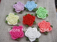 flat back resin flower  for phone & hair decoration 16pcs/lot(each color2pcs)