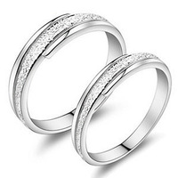 Lovers ring a pair of 925 pure silver ring lettering