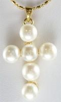 Fashion Jewelry  18K Yellow Gold GP White Akoya Cultured Pearl Cross Pendant Necklace