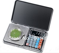 20PCS/LOT 500g/0.01g Newest Digital Pocket Scale with digital clock, digital thermometer,calculator, weighing, counting, pricing