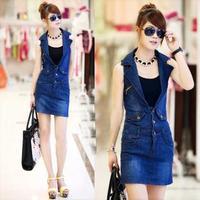 Free shipping slim sleeveless short dress tailored collar dress package hip denim dresses