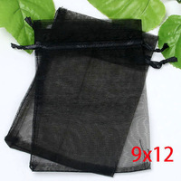 100 Black  Bronzing Drawable Organza Wedding Gift Bags&Pouches 12x9cm
