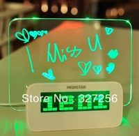 Multi Functional Electronic Alarm Clock Color Highlighter High-speed USB Backlight Message Board /USB Clock (Blue Fluorescence)
