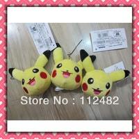 Free shipping Pokemon head 100pcs/lot plush toy pendant