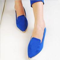 Free Shipping Candy Color Metal Velvet Pointed Toe Flat Heel Single Shoes Women's OL Flats Blue/Orange/Black SH-026