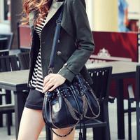 Trend 2012 women's handbag tassel rivet chain punk fashion skull bucket drawstring bag
