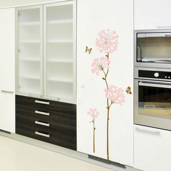 Free Shiping Good Quality Pink Hydrangea Flower Wall Sticker For Living Room /Bed Room/Cabinet Decor