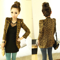 Free Shipping Wholesale 2013 New Fashion Women Suits Coat Print Leopard Suit Coat Suede Tops Lady Spring Coats Women Outerwear 0