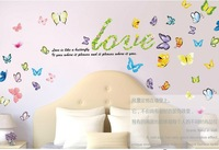 Free shipping Love Butterfly DIY Removable Wall Sticker Decal Home Bedroom Kids Children Home Decor