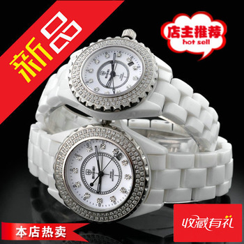 Women's watch fashion white waterproof ceramic table women's rhinestone table