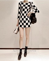 WOMENS LADIES OL 3/4 SLEEVE BLACK WHITE CHECKERED MINI BODYCON SLIM DRESS 70435