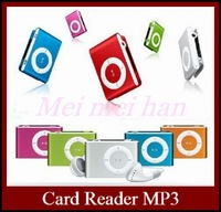 Wholesale 50 pcs Metal Clip Sport MP3 Music Player With Micro SD Card Slot + Earphone + USB Cable Mutil Color For DHL Free