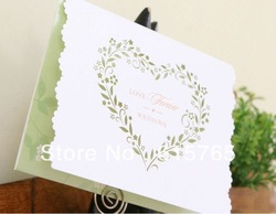 Pure Elegance Green Heart Floral Wedding Invitations Cards With Customize Printing in White (Set of 50) Wholesale Free Shipping(China (Mainland))