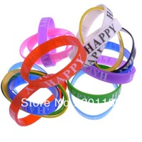Drop Shipping 100Pcs/set Fashion Jewelry Colorful Muti-colored Unisex Bangles Top Quality Silicone Rubber Wristband Bracelet