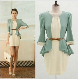 2013 New 2 IN 1 Women Korean Fashion OL Half Sleeve Chiffon Dress With Belt